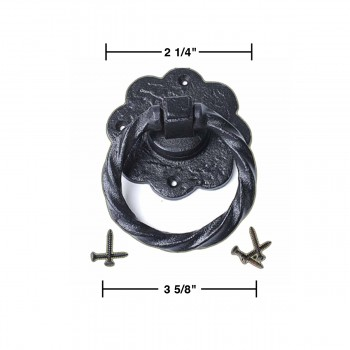 spec-<PRE>10 Ring Pull Cabinet or Drawer or Door Wrought Iron Black 5''</PRE>