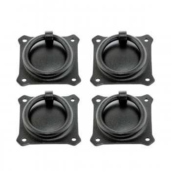 Wrought Iron Mission Style Ring Pull Black Cabinet 2in Set of 4