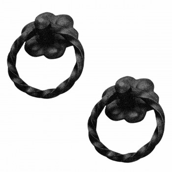 <PRE>2 Ring Pull Cabinet Drawer Door Wrought Iron Black 2inch diameter </PRE>zoom1