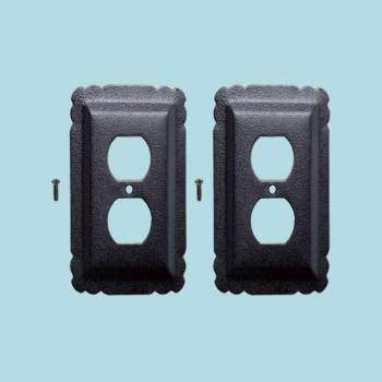 <PRE>2 Switchplate Black Steel Outlet RSF </PRE>zoom2
