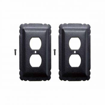 2 Switchplate Black Steel Outlet RSF