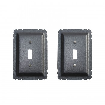 2 Switchplate Black Steel Single Toggle RSF over Steel