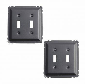 2 Switchplate Black Steel Double Toggle Switchplate Black RSF over Steel