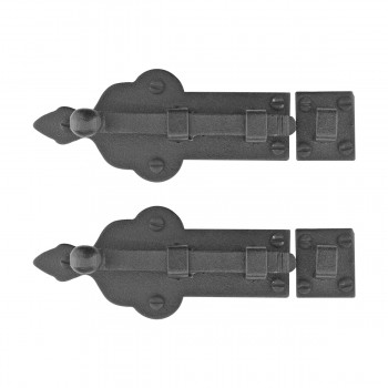 Slide Bolts Black Wrought Iron 4 inches Wide Set of 2