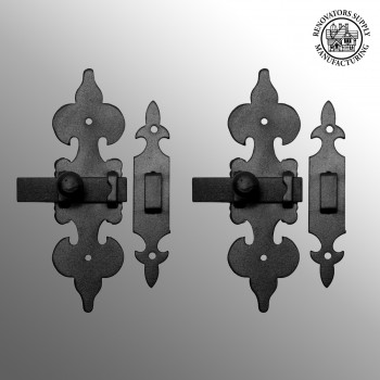 spec-<PRE>2 Cabinet Latch Wrought Iron Black Fleur de Lis 6&quot; </PRE>