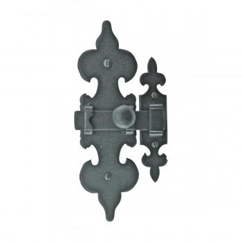 2 Cabinet Latch Wrought Iron Black Fleur de Lis 6 Cabinet Catch Cabinet Hardware Cabinet Catches