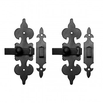 <PRE>2 Cabinet Latch Wrought Iron Black Fleur de Lis 6inch </PRE>zoom1