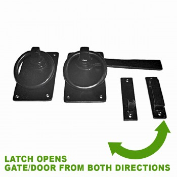 spec-<PRE>2 Black Iron Gate Latch Lock Colonial Style Fence Gate Latch </PRE>