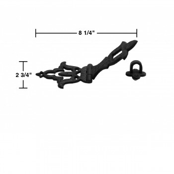 spec-<PRE>4 Decorative Hasp Black Wrought Iron 2 3/4'' H x 8 1/4'' W </PRE>