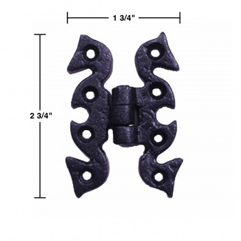 spec-<PRE>6 Door or Cabinet Surface Hinge Black Wrought Iron 2 3/4 H </PRE>