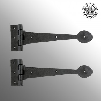spec-<PRE>2 Door Strap Hinge Heart Tip Rough Forged Iron 10&quot; </PRE>