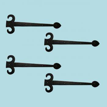 <PRE>4 Hinge Covers Black Wrought Iron Dummy Hinge Fleur Set of 4 | RS</PRE>