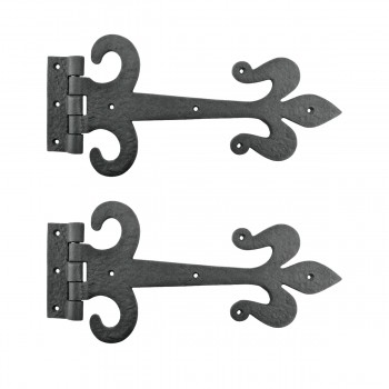 Decorative Strap Hinge Wrought Iron Fleur De Lis 12 Long Set of 2