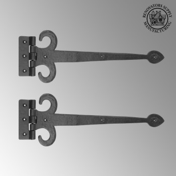 2 Strap Door Hinge Fleur de Lis Heavy Duty Iron 18 Door Hinges Door Hinge