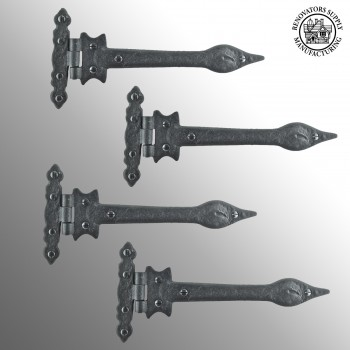 Black RSF Iron Spear Tip Strap Hinge Set of 4 Wrought Cast Forged Rustic Vintage Iron Antique Restoration Reproduction Door Gate Cabinet Chest Decorative
