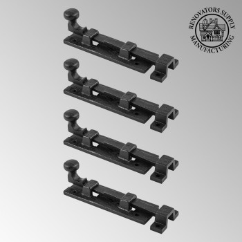 <PRE>4 Black Wrought Iron  Cabinet or Door Slide Bolt 4&quot; W </PRE>