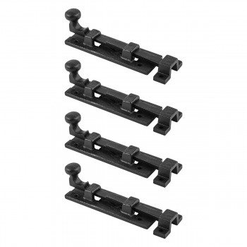 4 Black Wrought Iron  Cabinet or Door Slide Bolt 4 W