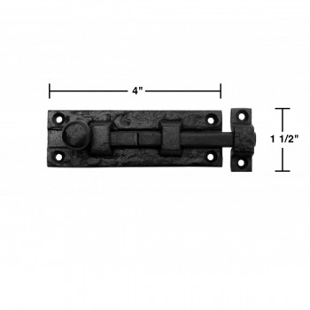 spec-<PRE>4 Black Wrought Iron  Cabinet or Door Slide Bolt 4&quot; W </PRE>