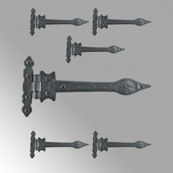 <PRE>6 Strap Hinges Spear Tip Black Wrought Iron Set of 6 </PRE>zoom2