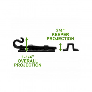 spec-<PRE>2 Slide Bolts Black Wrought Iron Curled Tail Set of 2 </PRE>