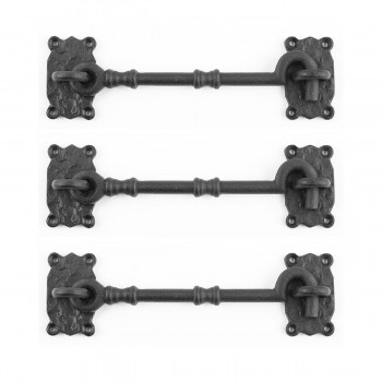 <PRE>3 Wrought Iron Cabin Hook And Decorative Eye Latch Black 7 1/4 Inch</PRE>zoom1