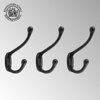spec-<PRE>3 Wrought Iron Double Hook Black for Coats Towels Robes </PRE>