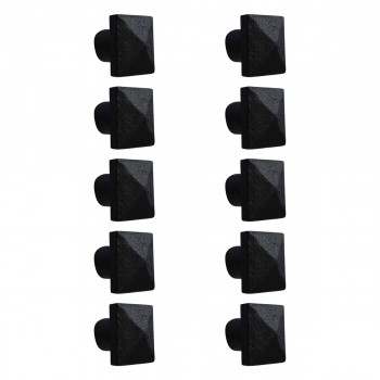 10 Cabinet Knobs Square Black Iron 1 14 D