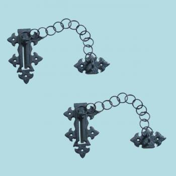 <PRE>Chain Door Locks Black Wrought Iron Rustproof Set of 2 </PRE>zoom2