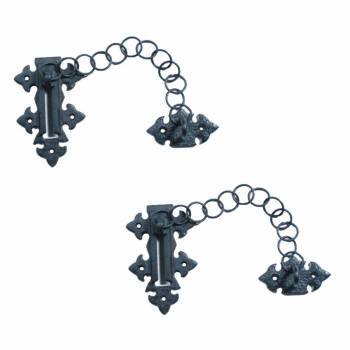 Chain Door Locks Black Wrought Iron Rustproof Set of 2