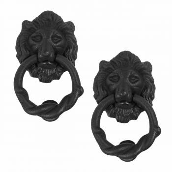 Door Knocker Black Cast Iron Lion Rustproof Finish 6 in H Set of 2