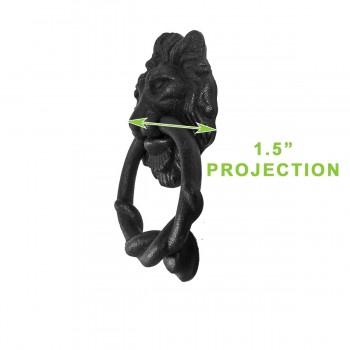 spec-<PRE>Door Knocker Black Cast Iron Lion Rustproof Finish 6 in. H Set of 2</PRE>