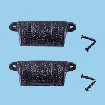 <PRE>Cabinet or Drawer Bin Pull Black Iron Cup 4inch W x 1 1/2&quot; H Pack of 2</PRE>zoom2