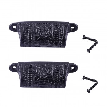 <PRE>Cabinet or Drawer Bin Pull Black Iron Cup 4inch W x 1 1/2&quot; H Pack of 2</PRE>zoom1