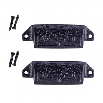 "<PRE>Cabinet or Drawer Bin Pull Black Iron Cup 4inch W x 1 1/2"" H Pack of 2</PRE>zoom1"