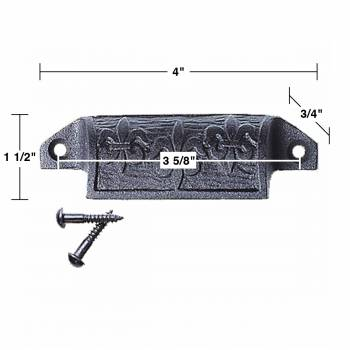 "spec-<PRE>Cabinet or Drawer Bin Pull Black Iron Cup 4"" W x 1 1/2"" H Pack of 2</PRE>"