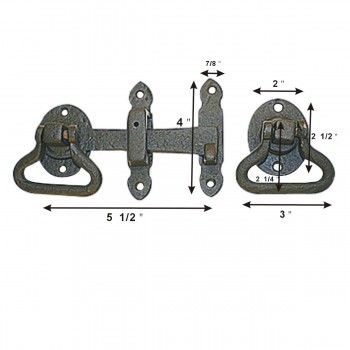 spec-<PRE>3 Door Latch Wrought Iron Black Set 5 1/2'' W </PRE>