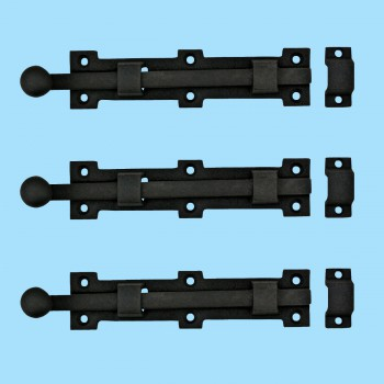 "<PRE>3 Slide Door Bolt Rough Wrought Iron 6 3/8inch W x1 1/2"" H </PRE>zoom2"