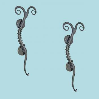 <PRE>2 Twisted Wrought Iron Gate or Door Pulls Rustproof </PRE>
