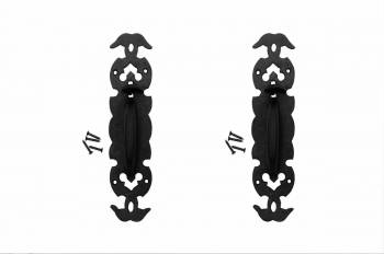 2 Wrought Iron Door Pull Black Rustproof Victorian Style door pull black wrought iron vintage colonial style antique reproduction Door Latch Set
