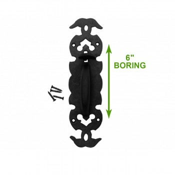 spec-<PRE>2 Wrought Iron Door Pull Black Rustproof Victorian Style </PRE>