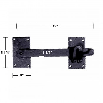 spec-<PRE>2 Lift Gate Lock Black Wrought Hand Forged Iron Gate Latch 12 Inch </PRE>