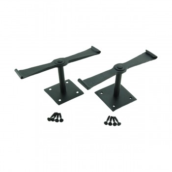 <PRE>Pair Shutter Dog Black Wrought Iron Propelier Wood </PRE>zoom7