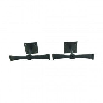 <PRE>Pair Shutter Dog Black Wrought Iron Propelier Wood </PRE>zoom8
