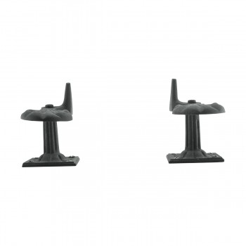 <PRE>Pair Shutter Dog Black Wrought Iron Seashell Wood Mount </PRE>zoom9