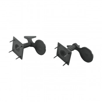 <PRE>Pair Shutter Dog Black Wrought Iron Seashell Wood Mount </PRE>zoom10