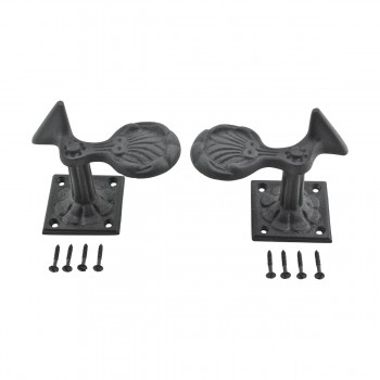 <PRE>Pair Shutter Dog Black Wrought Iron Seashell Wood Mount </PRE>zoom11