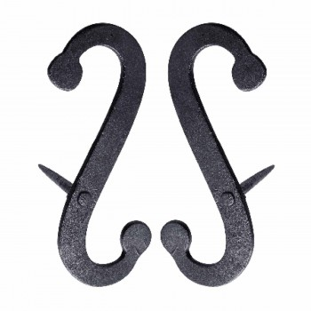 Pair Shutter Dog Scroll Black Hand Forged Iron Masonry