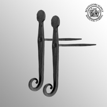 spec-<PRE>Shutter Dog Black Iron Pair Rat Tail for Masonry </PRE>