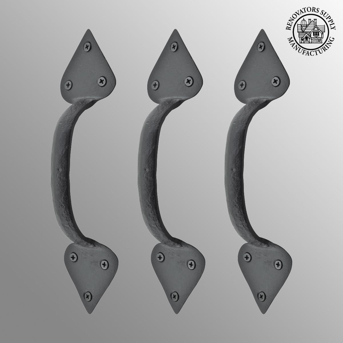 3 Wrought Iron Door Handles Black Drawer Pull 10\