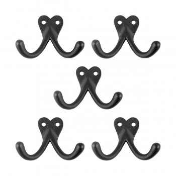 Double Wall Hook Black Wrought Iron Hat and Coat Hook  Set of 5